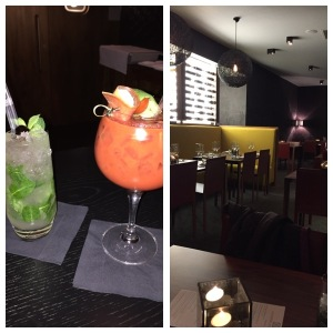 Drinks (left) and the restaurant (right)