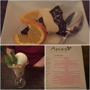 Chocolate and amaretto tart (top), drunken pineapple mess (bottom left), tester menu (bottom right) - Apiary