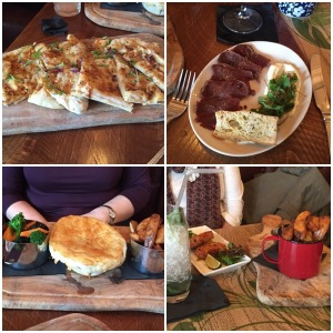 Pizza bread (top left), carpaccio (top right), steak and haggis pie (bottom left), fishcakes and chips (bottom right) - Jolly Botanist