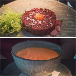 Steak Tartare (top) and fish and shellfish soup (bottom) - Ondine