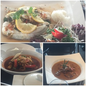 Steamed sea bass (top), jungle fish curry (bottom left), massaman curry (bottom right)