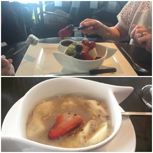Fruit fondue (top) and bananas in sweet coconut milk (bottom)
