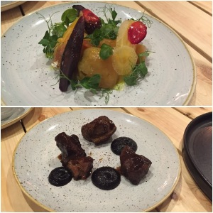 Carrots and beets (top), pigs cheeks (bottom)