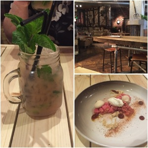 Rhubarb and ginger mojito (left), the restaurant (top right), poached rhubarb dessert (bottom right)