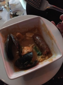 Seafood gumbo (midway through eating) - Maison Bleue