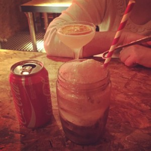 Cocktail (top) and coke float (bottom) - Boozy Cow