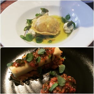 Salmon ravioli (top), sweet and sour quail's breast (bottom) - Field Restaurant