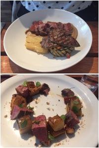 Roast rump of lamb (top), smoked duck breast (bottom) - Field