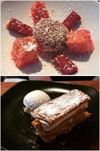 Bird's custard panna cotta (top) , roast pineapple mille feuille (bottom) - Field