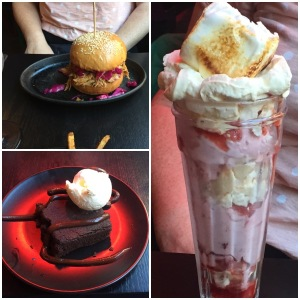 Pulled pork burger, chocolate brownie and strawberry meringue sundae - OX184