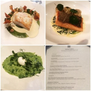 Halibut, salmon, risotto, menu - Mark Greenaway