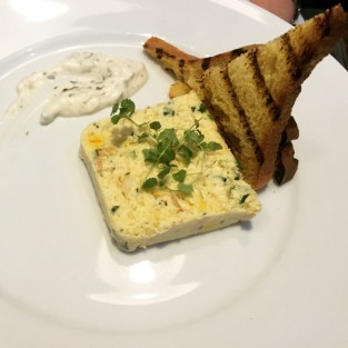 Smoked haddock and saffron potato terrine - Michael's Steak and Seafood Bar