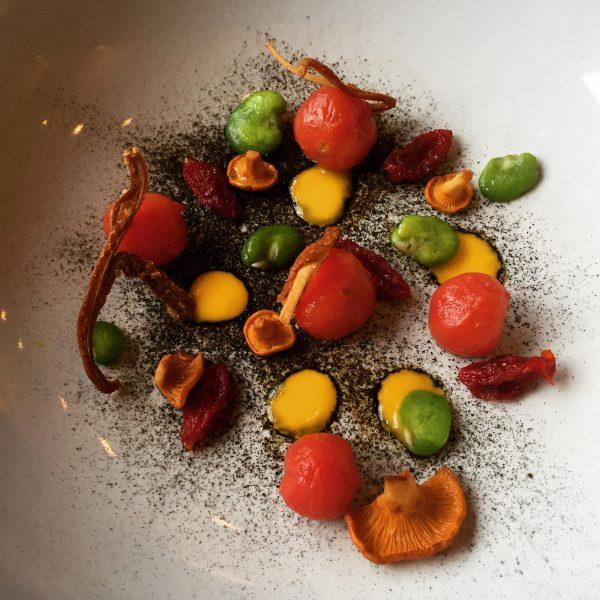 Tomatoes, Chanterelles, Broad Beans and Leeks - Edinburgh Food Studio
