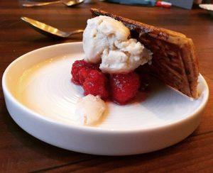 Sheep yoghurt, rose petal, heather honey and raspberries - Edinburgh Food Studio