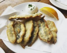 Deep fried anchovies - Serrano Manchego