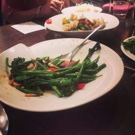 Mixed Greens and Mushroom Stir Fry / King Prawns with Ginger- Chaophraya