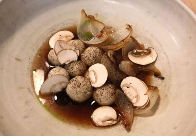 Cheese dumplings, onion and mushroom broth - Borough