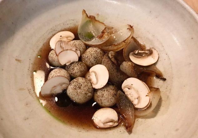 Cheese dumplings, onion and mushroom broth - Borough