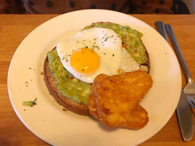 Avocado on toast with egg and hash browns - Smoke Stack